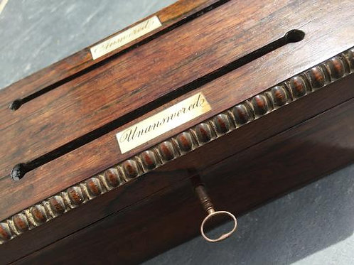 A 19th Century Rosewood Antique Stationery box