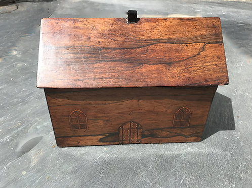 Antique Box in the form of a house - secret drawer