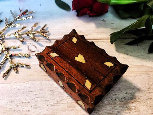 Antique Snuff Box - Diamond and Heart inlay
