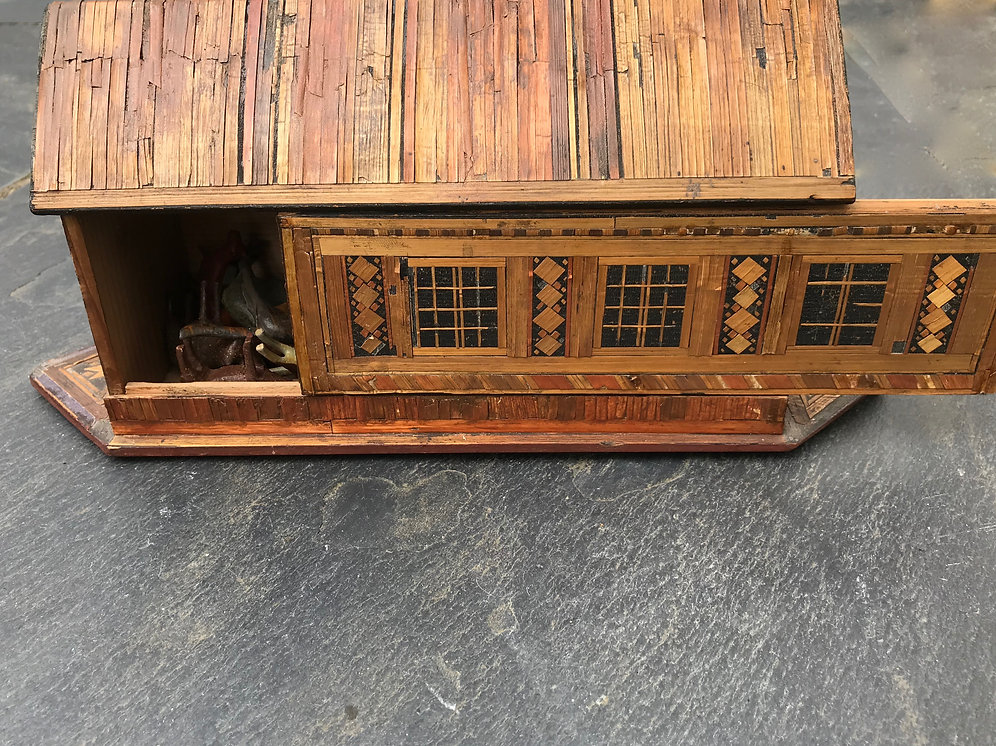Antique Straw Work Noah's Ark   treenantiquesdevon