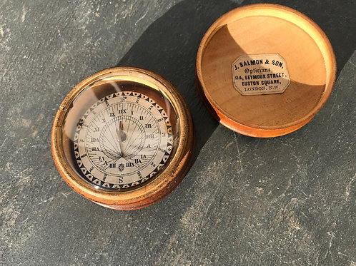 Antique Pocket Sun Dial - with old retailers label