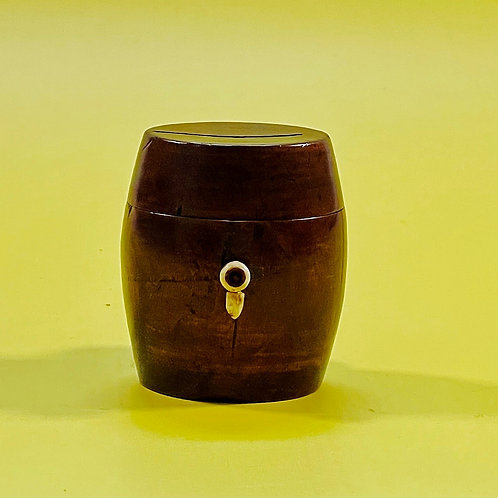 Antique Treen Barrel Box - for coins, ribbon etc