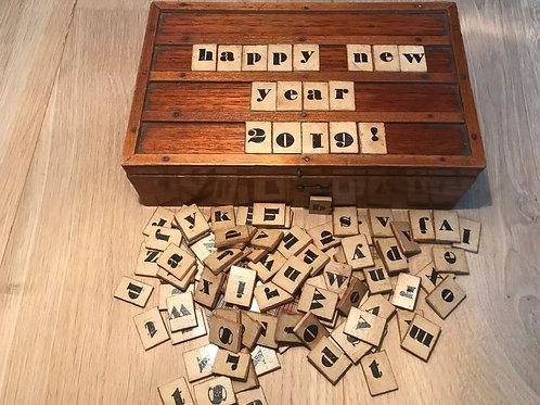 Antique Treen Spelling Box