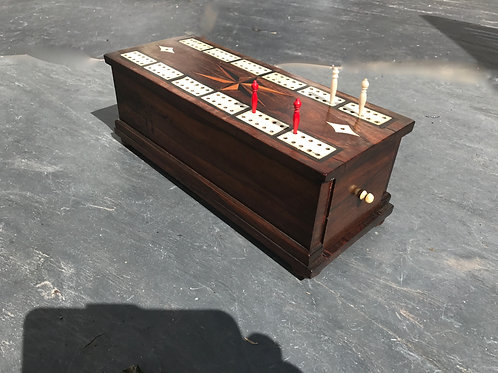 Antique Cribbage Box- with pull out drawers to base