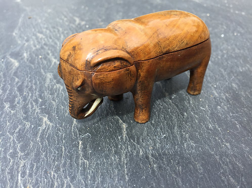 A Rare Antique Treen Elephant Match Safe