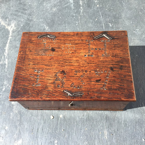 Antique Oak Ditty Box - Dated 1837