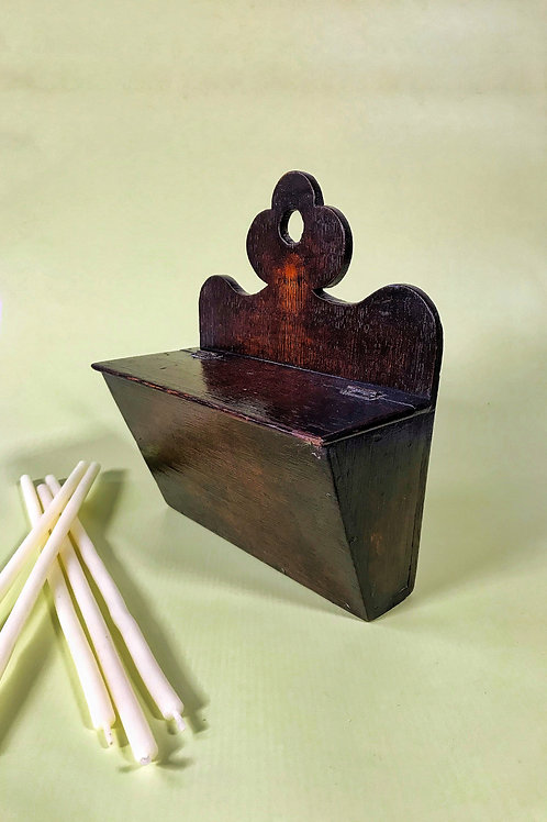Antique Oak Candle Box - Unusual shape
