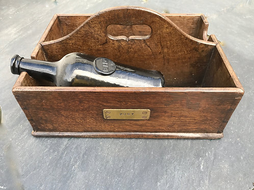 Antique Oak Bottle Carrier - Port/Sherry