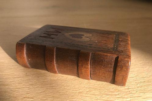 Antique Treen Snuff Box Book Shape