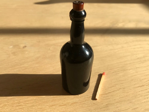 Antique Treen Go to Bed Match Holder - wine bottle