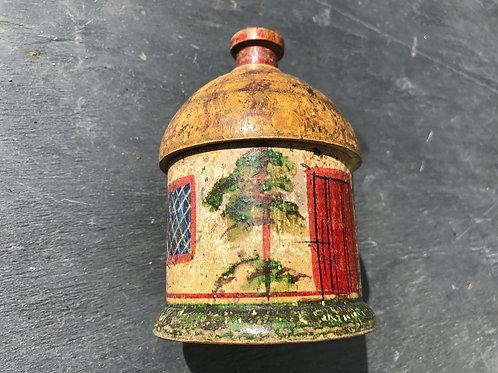 Antique Painted  Tunbridge Ware Cottage Money Box
