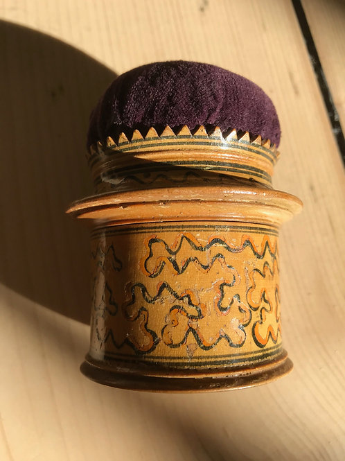 Antique Tunbridge Ware Pin Cushion Box