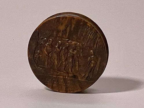 Antique Pressed Wood Snuff Box - Napoleonic