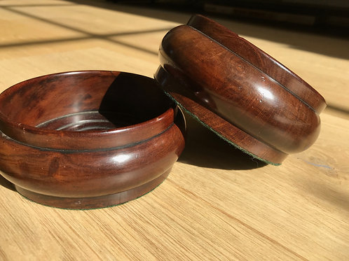 A Pair of Antique Mahogany Wine Coasters