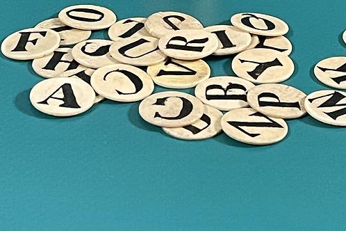 Antique Bone Alphabet set