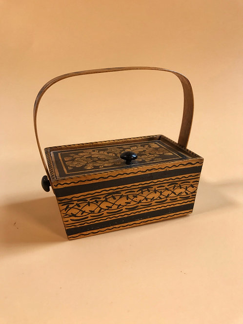 A Small Antique Penwork Decorated Basket