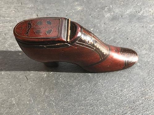 Antique Snuff Shoe - very unusual dated heel