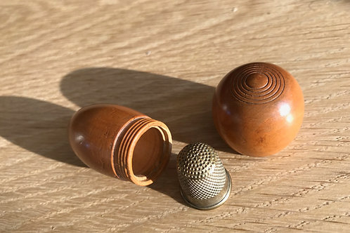 Antique Treen Thimble Holder - acorn shape