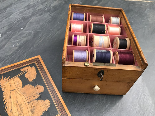 Antique Whitewood Sewing/Cotton Reel Box