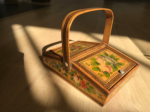 Antique Sewing Pannier Box - with contents