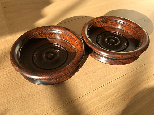 A Pair of Antique Wine Coasters - Rosewood