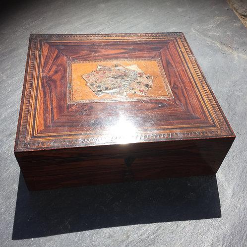 An Antique  Inlaid Card Box