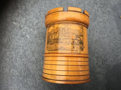Antique Treen Castle Money Box- Tower of London