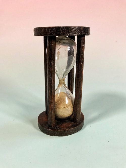 Antique Treen  Glass  Sand Timer