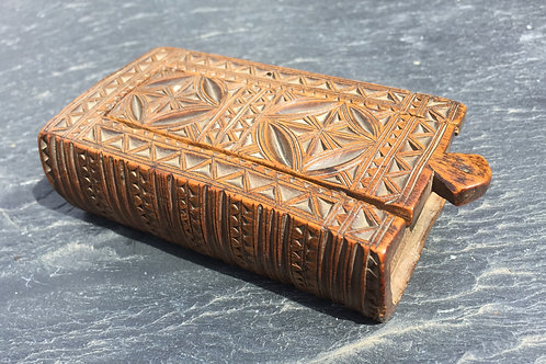 An 18th Century Chip Carved  Book Snuff Box