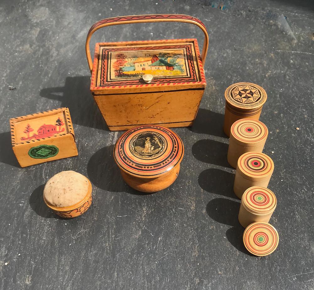 Antique Treen Tunbridge Ware items, for sale Opus Antiques UK