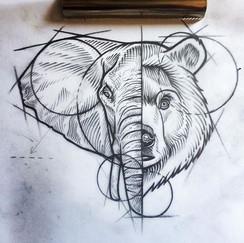 """Este sketch se llama """"que dice mi mamá que siempre no """" #tattoo #sketch #blackwork #tattoos #bear #elephanttattoo #beartattoo #elephant #dra"""