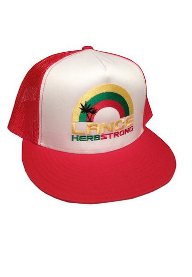 Lance Herbstrong Red Trucker Hat