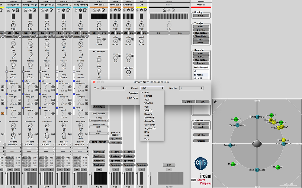 IRCAM's Panoramix Suite: Allows you to choose multiple busing options for different spatialization algorithms.