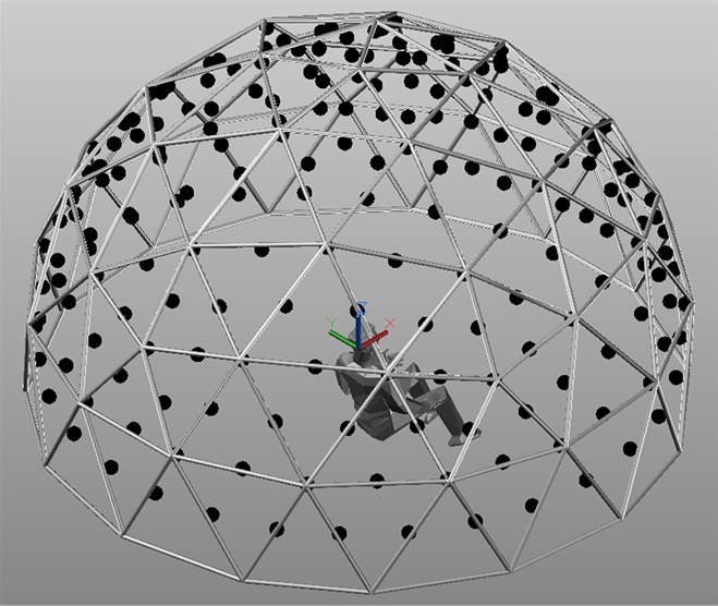Image from: Potential and Limits of a High-Density Hemispherical Array of Loudspeakers for Spatial Hearing and Auralization Research by William L. Martens, Densil Cabrera, Luis Miranda, Daniel Jimenez