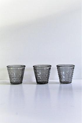 Grey spotty votive candle holders (set of 3)