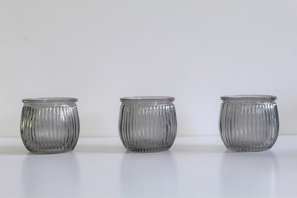 Grey corrugated votive candle holders (set of 3)