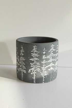 Christmas tree design grey stone pot
