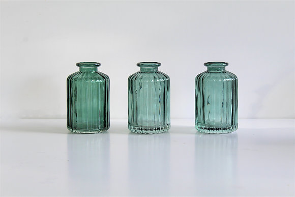 Green bud vases (set of 3)