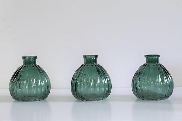 Green glass bud vases (set of 3)