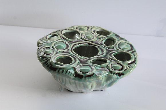 Ceramic floral frog vase