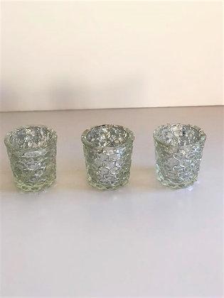 Silver crackle glass votives (set of 3)