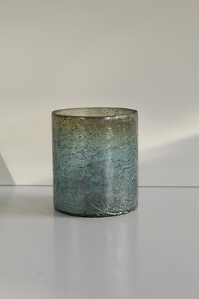 Green and grey glass candle pot