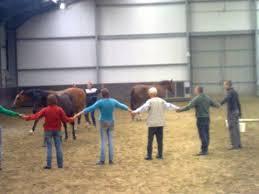 circel van mensen met paard erin