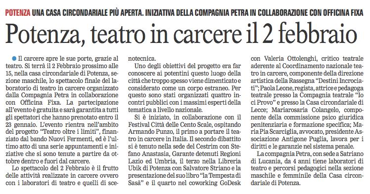 Gazzetta del Mezzogiorno 31/01/2017