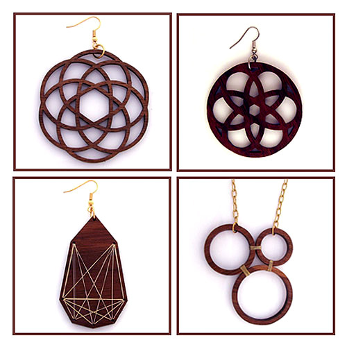 Laser Cut Solid Wood. Pendants.
