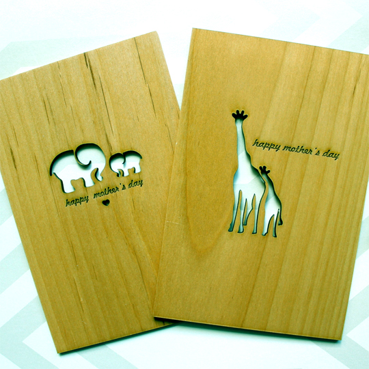 Wood. Laser Cut & Engrave. Card