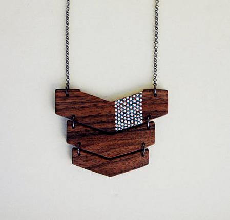 Laser Cut Wood Necklace.