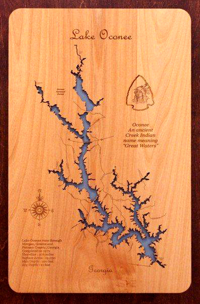 Wood. Laser Engrave. Map.