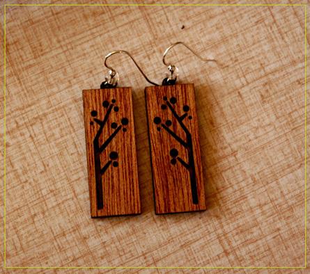 Wood laser engrave sample Earrings.