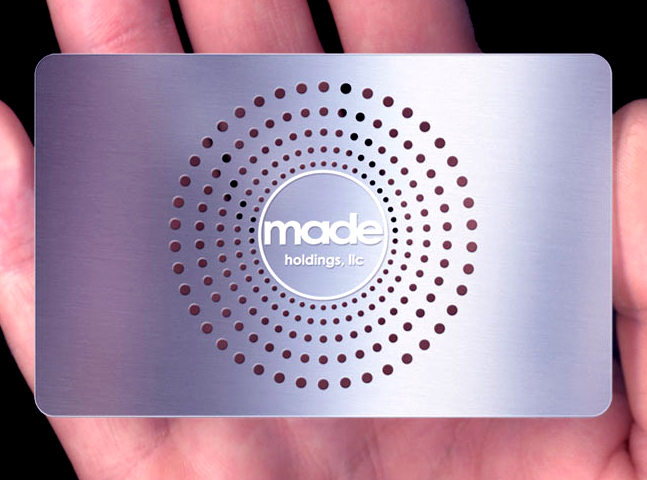Designer metal business cards